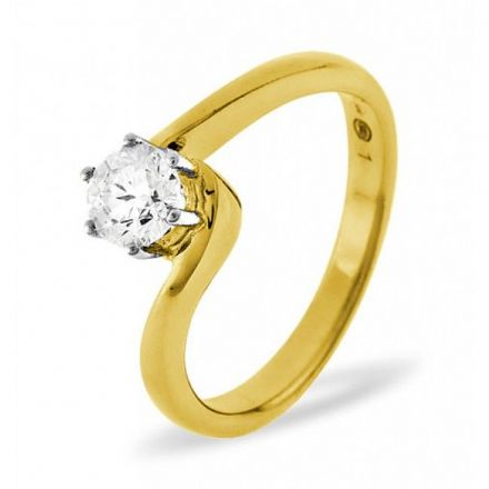 18K Gold 0.50ct Diamond Solitaire Ring, SR08-50PKY